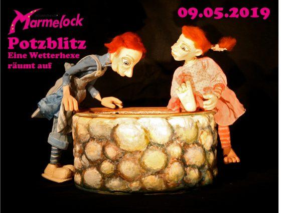 <b>09.05.2019</b><br>15:30 Uhr<br><b>Figurentheater Marmelock</b><br>Potzblitz &#8211; Eine Wetterhexe dreht auf