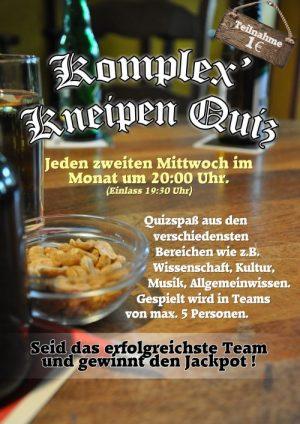 <b>10.04.2019</b><br>19:30 Uhr<br><b>Komplex Kneipenquiz</b>