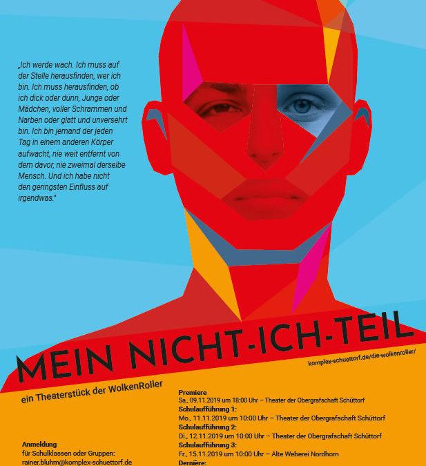 """09.11.201918:00 UhrPremiere MEIN NICHT-ICH-TEIL,  """"WolkenRoller"""" im Theater der Obergrafschaft"""