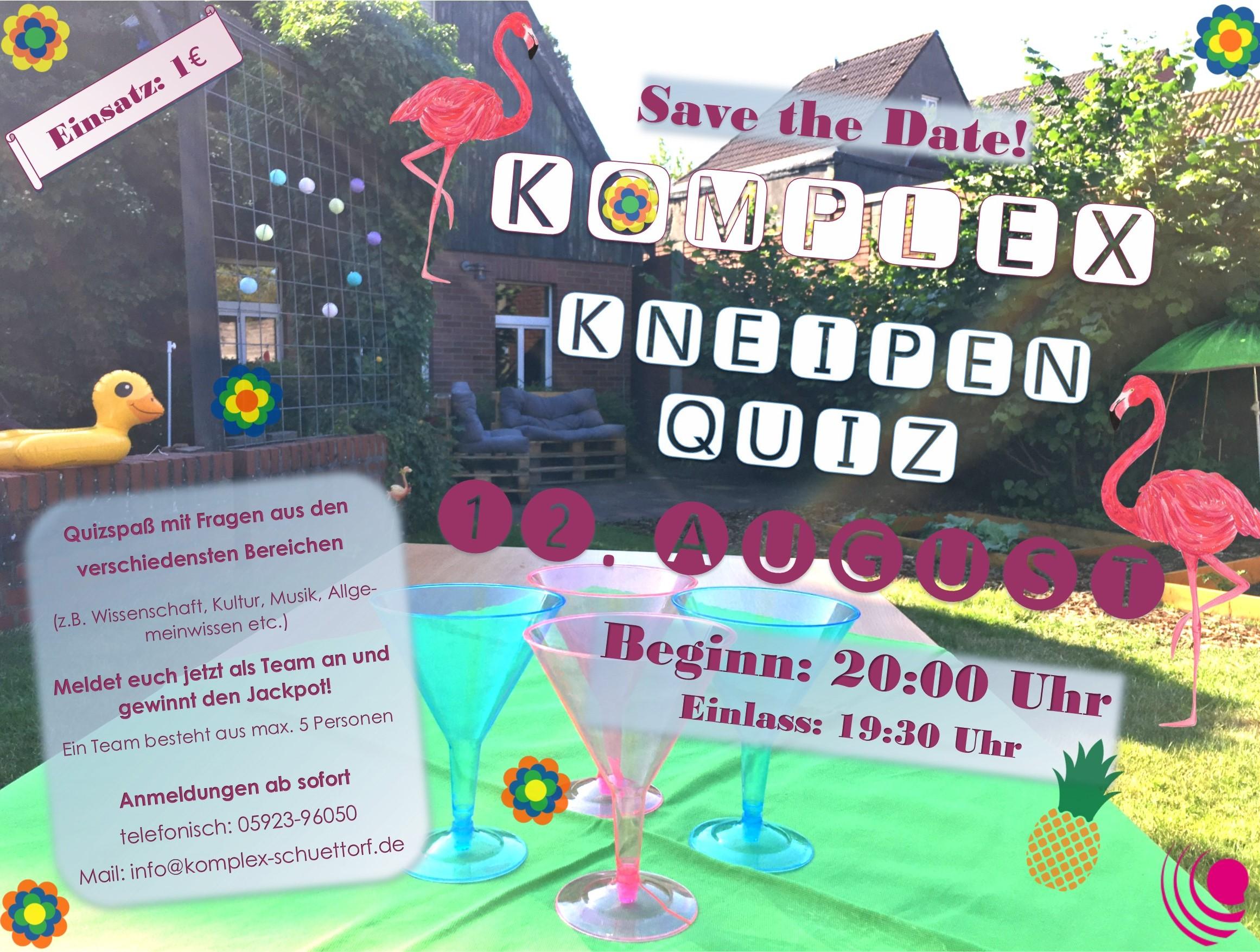 <b>12.08.2020</b><br>19:30 Uhr<br><b>Komplex Kneipen Quiz</b><br>Im Biergarten