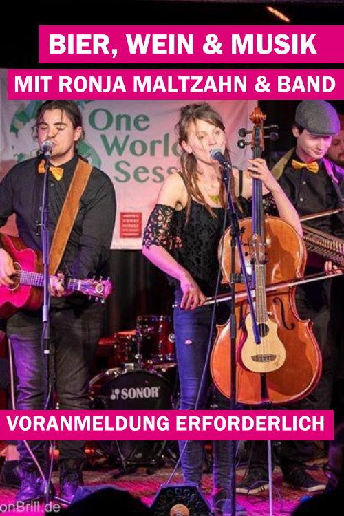 <b>15.08.2020</b><br>18:00 Uhr<br><b>Bier, Wein & Musik mit Ronja Maltzahn</b><br>Im Biergarten