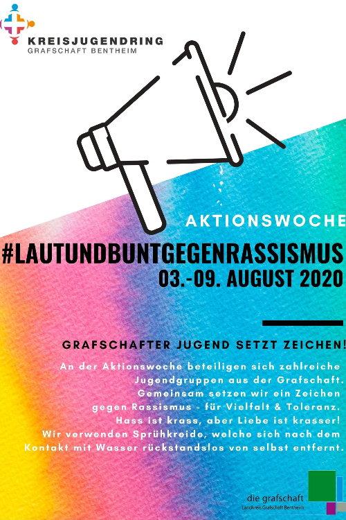 <b>03.08.2020</b><br>-09:08.2020<br><b>Aktionswoche: Laut und Bunt gegen Rassismus</b><br>Grafschafter Jugend setzt Zeichen!